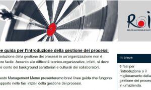 Linee guida per l'introduzione della gestione dei processi